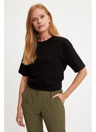 DeFacto Regular Fit Crop Top Siyah